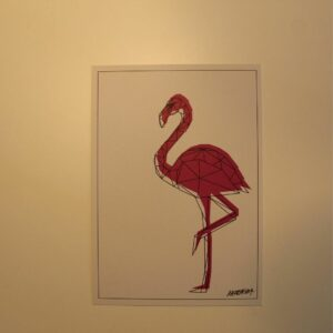Flamingo Postkarte Signed By Metraeda