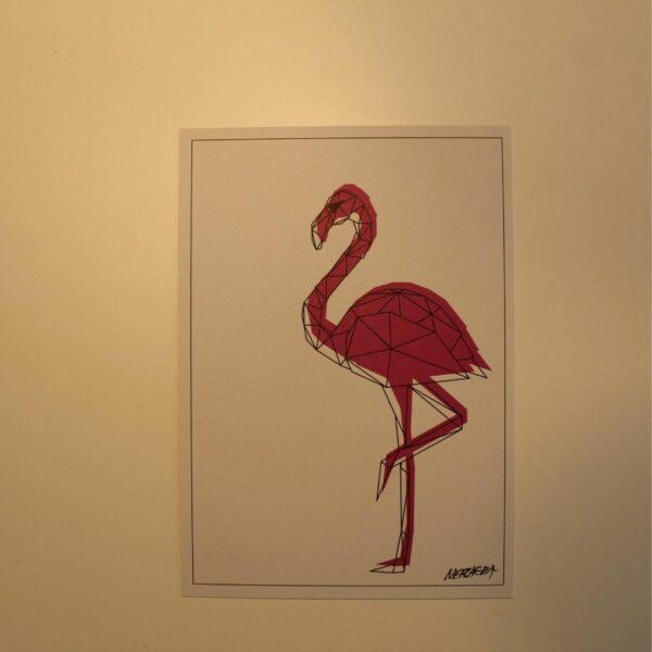 Flamingo Postkarte Metraeda Straßenkunst